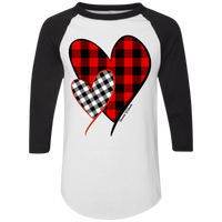 1281 Red and White Buffalo Plaid Hearts Raglan Jersey
