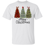 Merry Christmas Printed Christmas Trees Gildan 5.3 oz. 100% Cotton T-Shirt