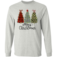 Merry Christmas Printed Christmas Trees Gildan LS Ultra Cotton T-Shirt