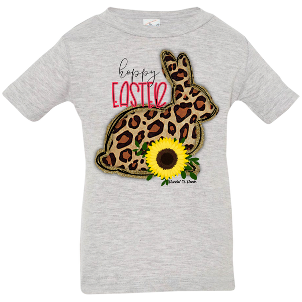 Hoppy Easter Leopard Bunny with Sunflowers Infant Jersey T-Shirt