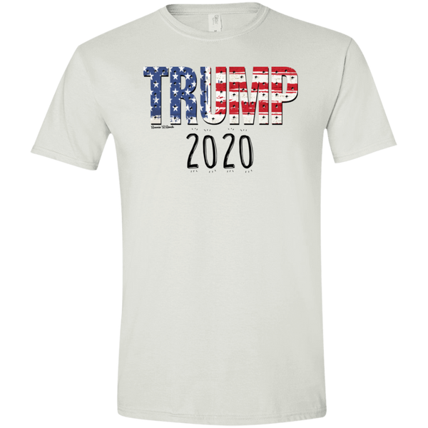 Trump 2020 USA Flag on Gildan Softstyle T-Shirt