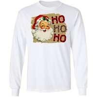 Santa Ho Ho Ho Leopard and Plaid G240 Gildan LS Ultra Cotton T-Shirt