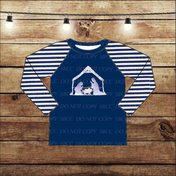 Embroidered Nativity Raglan - Navy