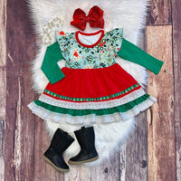 Holly Floral Christmas Dress with Lace Trim