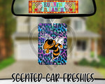 Hornet Mascot on Colorful Leopard Print - Refillable Felt Car Freshie (comes with refresh spray!)