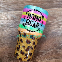 30 oz Serape and Leopard Mama Bear Glitter Tumbler