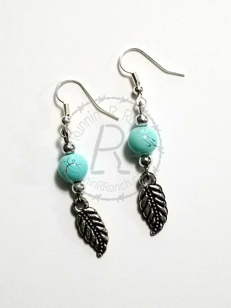 Turquoise Feather Beaded Earrings
