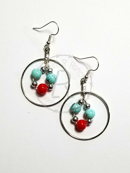 Red and Turquoise Beaded Earrings