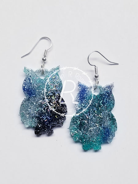 Owl Resin Glitter Earrings