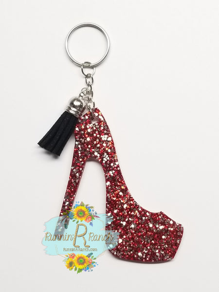 Red High Heel Resin Glitter Keychain with Tassel
