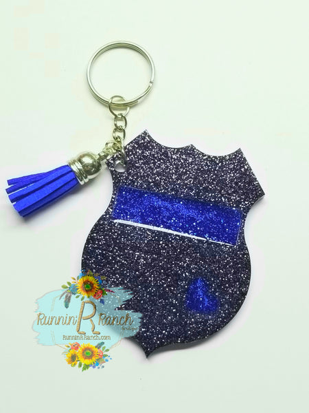 Police Thin Blue Line Resin Glitter Keychain with Tassel