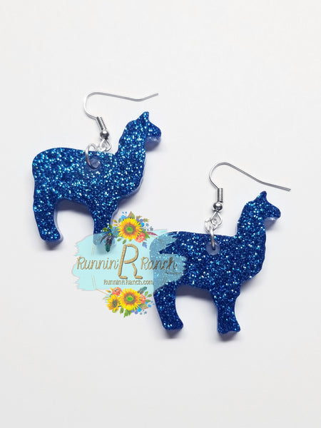 Llama Resin Glitter Earrings