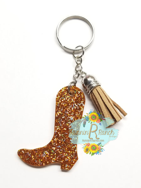 Cowboy or Cowgirl Boot Resin Glitter Keychain with Tassel