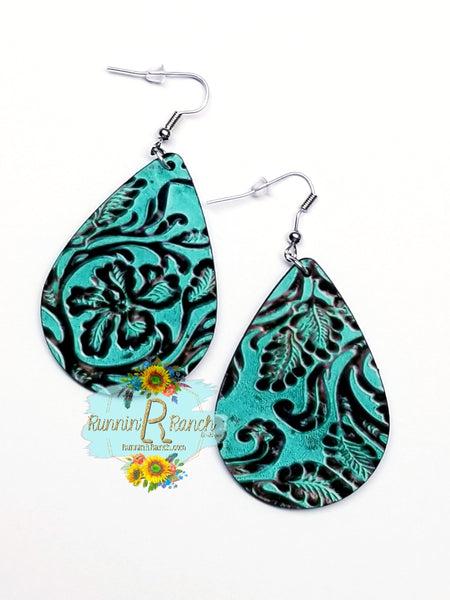 Turquoise Tooled Leather Hardwood Earrings