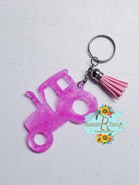 Tractor Resin Glitter Keychain with Tassel