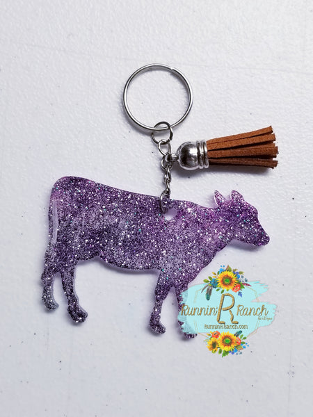 Cow Resin Glitter Keychain with Tassel