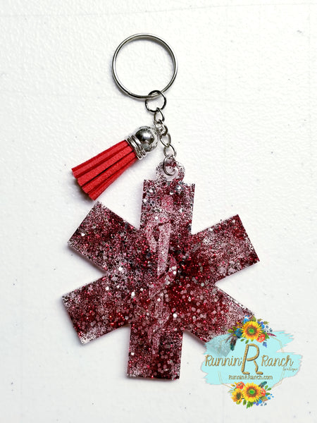 Emblem Resin Glitter Keychain with Tassel