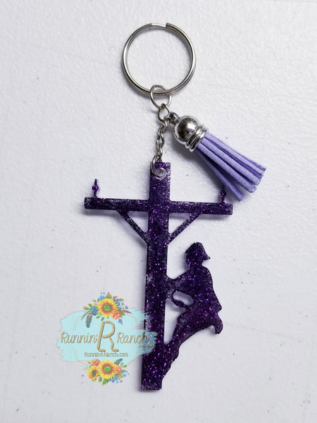 Lineman Resin Glitter Keychain with Tassel