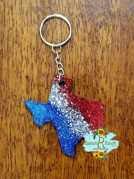 Texas Resin Glitter Keychain