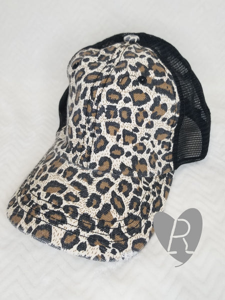 Leopard and Black Ponytail Cap