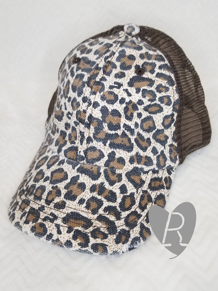 Leopard and Brown Ponytail Cap