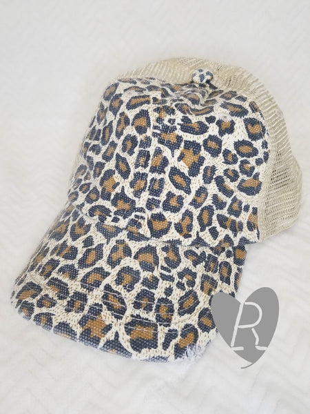 Leopard and Tan Ponytail Cap