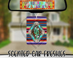 Turquoise Navajo Cactus on Serape Background - Refillable Felt Car Freshie (comes with refresh spray!)