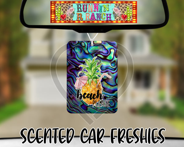 Beach Please Pineapple Drink on Abalone Background - Refillable Felt Car Freshie (comes with refresh spray!)