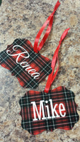 Personalized Buffalo Plaid Benelux Christmas Ornament - Add your name