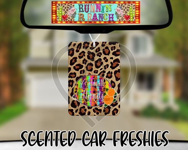 Caldwell Hornets Tie Dye and Leopard- Refillable Felt Car Freshie (comes with refresh spray!)