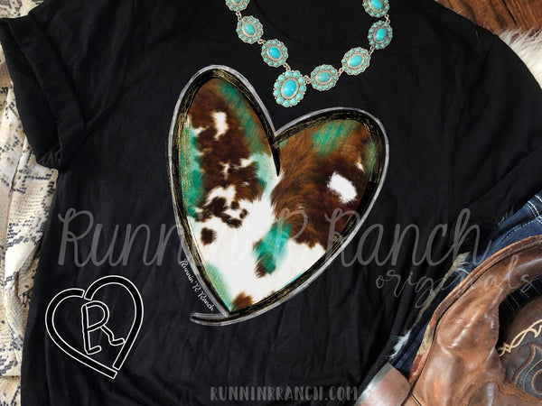Cow Hide and Turquoise Heart Tee