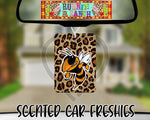 Hornet Mascot on Leopard Print - Refillable Felt Car Freshie (comes with refresh spray!)
