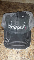 Blessed Baseball Cap - Distressed - Ladies - Pink Cross