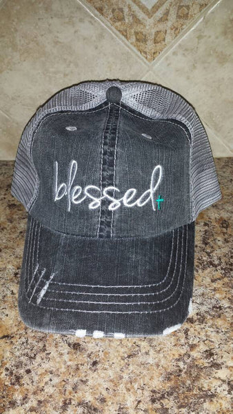 Blessed Baseball Cap - Distressed - Ladies - Turquoise Cross