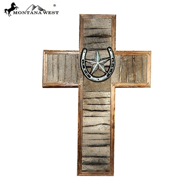 Lonestar Wooden Cross With Horseshoe