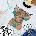 Cute Longhorn Cow with Turquoise Jewelry Tee