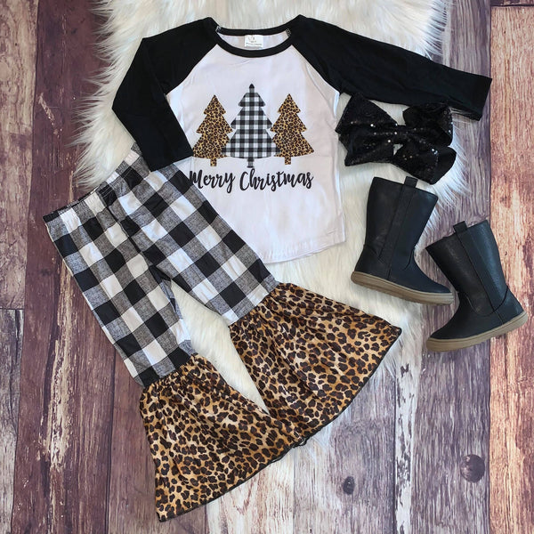 Merry Christmas Black Buffalo Plaid and Leopard Print Bells Set