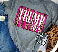Trump 2024 Hot Pink and Leopard Tee