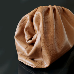 Crocodile Embossed Pouch - Cowhide leather