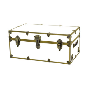 "Large Sticker Trunk with Antique Brass Hardware - 32"" x 18"" x 14"""