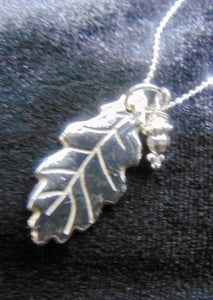 Silver oak leaf with acorn drop