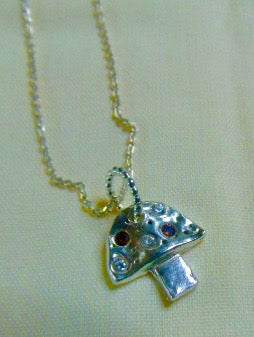 Silver and Cz toadstool pendant and chain
