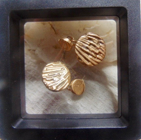 Round Bronze patterned  cufflinks