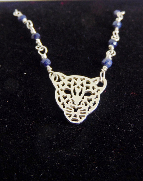 Sterling silver and sapphire leopard necklace