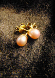 Sterling silver gold vermeil, stud earrings with fresh water pearls