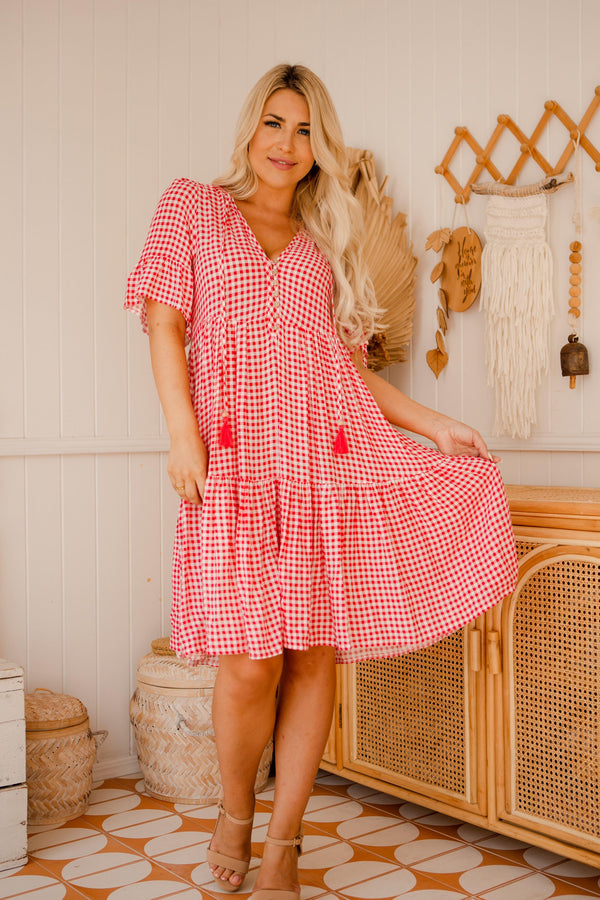 The Emerson Dress - Bright Pink Gingham