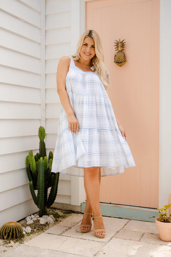 The Astrid Dress - Blue & White