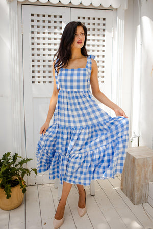 The Tiela Dress - Blue & White Gingham