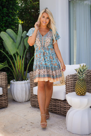 The Nala Dress - Lake Blue