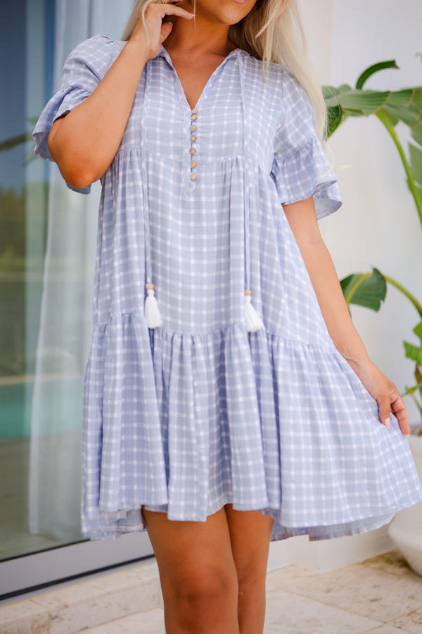 The Emerson Dress - Gingham Pastel Blue